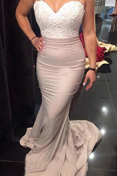 Spaghetti Straps Sweetheart Sleeveless Appliques Lace Mermaid Backless Bridesmaid Dresses JS172