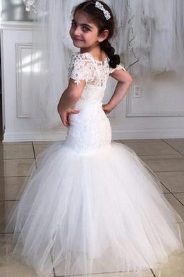 Long Short Sleeves Mermaid Lace Appliques Tulle Flower Girl Dress Wedding Party Dress SSM119