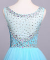 Ball Gown Blue Scoop Sequins Organza Long Prom Dresses Elegant Party Dresses JS165