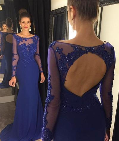 Open Back Long Sleeve Scoop Royal Blue Mermaid Floor-Length Beads Sexy Prom Dresses JS40