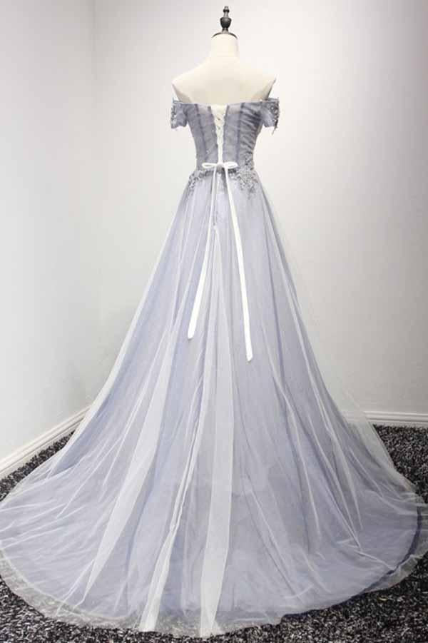 Dusty Blue A-Line Off-the-Shoulder Tulle Lace up Prom Dresses with Appliques Lace JS956