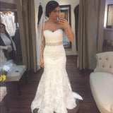 White lace sweetheart sequins mermaid floor length prom dress Wedding Dresses JS380
