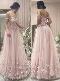 A-Line Off the Shoulder Pearl Pink Sweetheart Tulle Prom Dresses with Applique Beads JS821