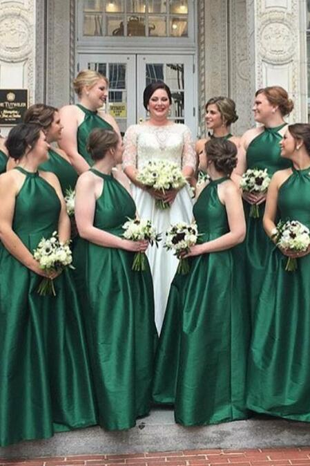A-Line Round Neck Floor Length Hunter Green Satin Bridesmaid Dress Long Prom Dresses BD1001