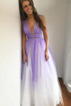 Ombre Open Back Deep V Neck Long Tulle Purple Backless Beading Prom Dresses JS77