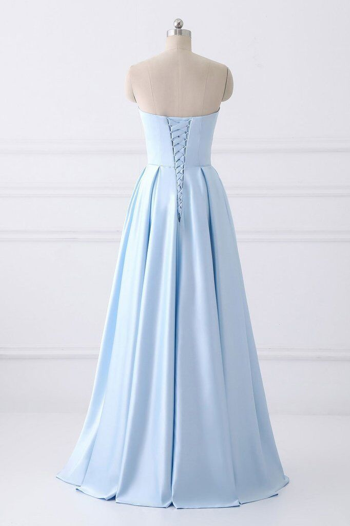 A-Line Blue Simple Satin Strapless Beaded Pockets Lace Up Back Long Sleeveless Prom Dresses UK JS309