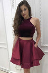 A-Line Two Pieces Scoop Short Satin Burgundy Halter Above Knee Homecoming Dress JS300