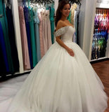 Wonderful Ball Gown Beaded Off the Shoulder Sweetheart Tulle White Wedding Dresses JS685