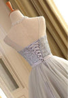 Cute A Line Sleeveless Scoop Short Silver Lace up Tulle Homecoming Dresses with Bowknot JS589