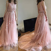 Charming Pink Lace Tulle Long A-line Open Back Elegant Little Train Wedding Dresses JS624