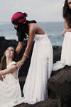 Stunning Backless White Lace Boho Spaghetti Straps Chiffon Beach Lace Lining Wedding Dress JS804