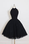 Black Chiffon Prom Dress Halter Homecoming Dress Short Prom Dresses JS325