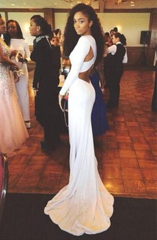Open Back White Prom Dresses With Long Sleeves Tight Backless Royal Blue Prom Gown JS153