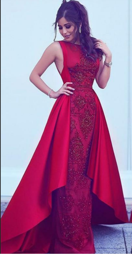 2021 Long New Style Red Scoop Sleeveless Mermaid Satin Beads Prom Dresses UK JS388