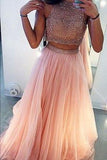 Charming A-Line Beading Two Pieces Long High Neck Tulle Floor-Length Prom Dresses SSM216