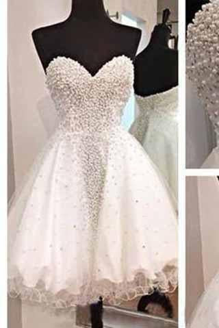 White Short Homecoming Gown Tulle Homecoming Gowns Ball Gown Sweetheart Party Dress JS915