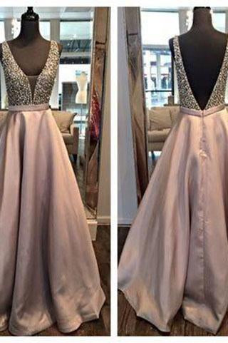 Deep V-neck Open Back Long Prom Dresses Pretty Evening Dresses For Teens JS974
