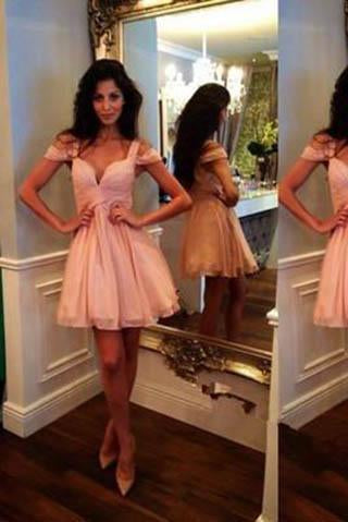 Blush Pink Homecoming Dress Lace Short Prom Gown Blush Pink Sweet 16 Dress JS899
