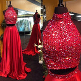 Burgundy Two Piece Beading Halter Open Back Carpet Long With Slit Prom Dresses JS152