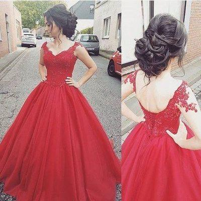 Elegant Ball Gown Cap Sleeve Appliques Sweetheart Lace up Red Long Prom Dresses JS999