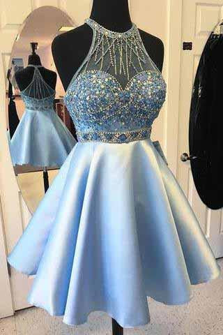 Elegant A-line Jewel Short Halter Sleeveless Satin Beads Light Blue Short Prom Dresses JS927