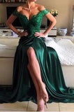 Dark Green Lace A-Line Long Charming Evening Dress Formal Women Dress Prom Dresses uk F303