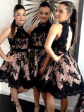 Halter Pearl Pink Open Back Bridesmaid Dress with Black Lace JS417