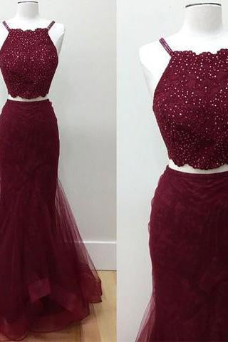 Hot-Selling Two-Piece Mermaid Halter Sleeveless Burgundy Long Prom Dress with Beading SSM779