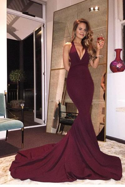 Burgundy Mermaid V Neck Backless Sweep Train Prom Dresses SSM211