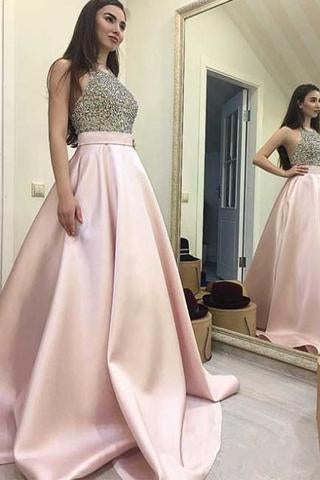Halter Beaded A Line Prom Dress Fashion Prom Dress Sexy Custom Made Evening Dress JS121