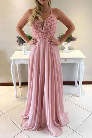Charming A-Line Spaghetti Straps Sweetheart Pink Long Chiffon Prom Dress JS426
