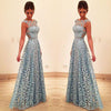 Elegant A Line Lace Appliques Long Blue Open Back Prom Dresses Homecoming Dresses JS919