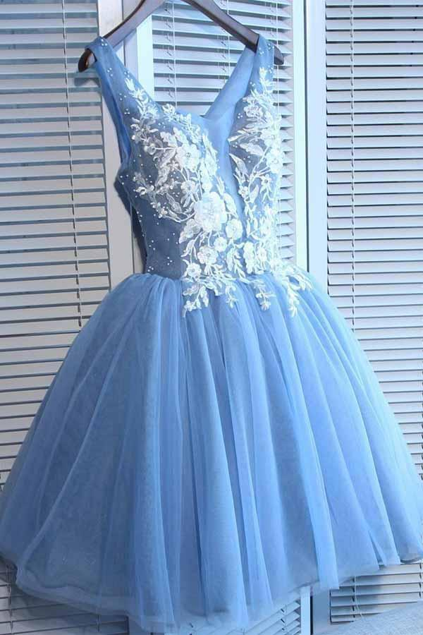 A Line V Neck Blue Tulle Cheap Beads Short Homecoming Dresses with Lace Appliques JS05