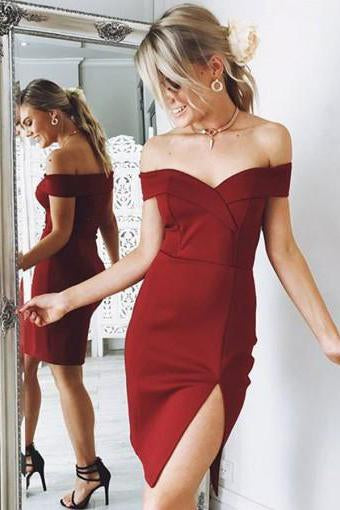 Chic Sheath Burgundy Off the Shoulder Sweetheart Satin Slit Homecoming Dresses JS914