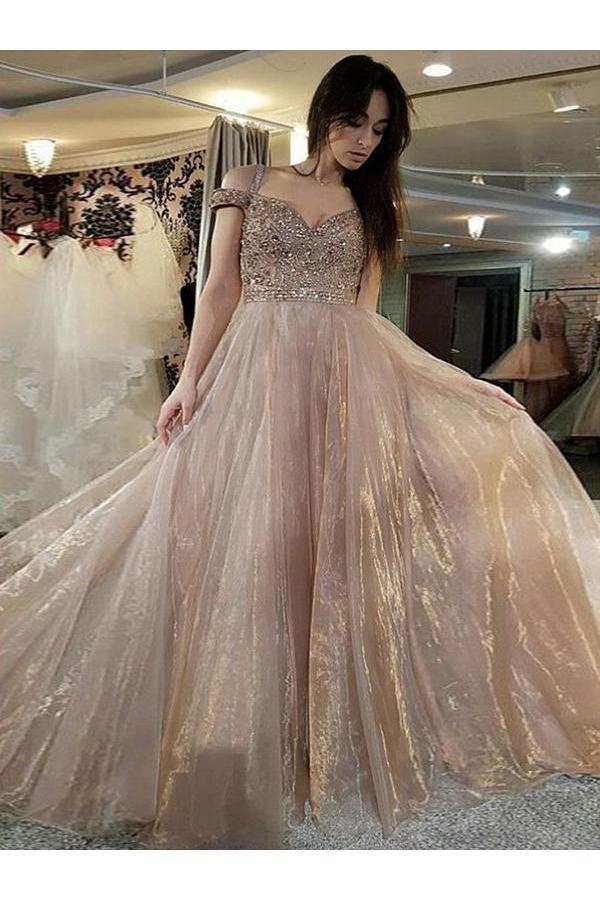 Beautiful Long Off the Shoulder A-Line Sweetheart Beads Organza Prom Dresses UK JS491