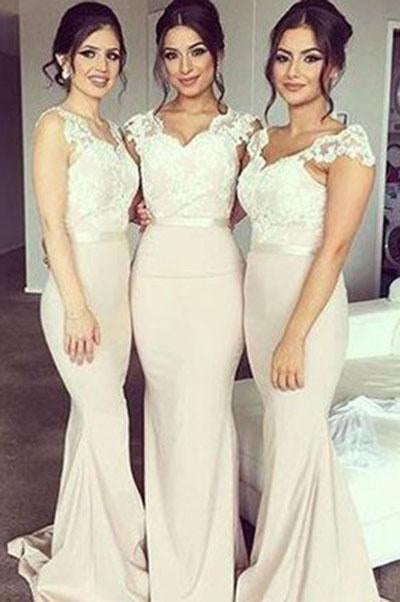 Cap Sleeve Lace Mermaid Long Sweetheart Cheap Plus Size Wedding Bridesmaids Dresses JS256