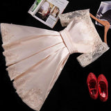A Line Short Sleeves Satin Lace Appliques Lace up Scoop Short Prom Dress Homecoming Dresses JS752