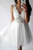 A-Line V-Neck Short Prom Dress White Tulle Lace Beads Homecoming Dress with Appliques JS717