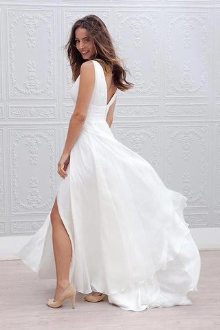 White Long A-Line Chiffon Deep V-Neck Sleeveless Side Split V-Back Wedding Dresses JS387