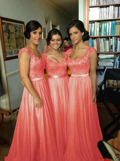 Coral Chiffon Corset Long Bridesmaids Dress Formal Prom Dress JS534