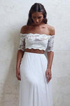 A-Line Long Lace Ivory Chiffon Off the Shoulder Short Sleeve Two Pieces Wedding Dresses UK JS383