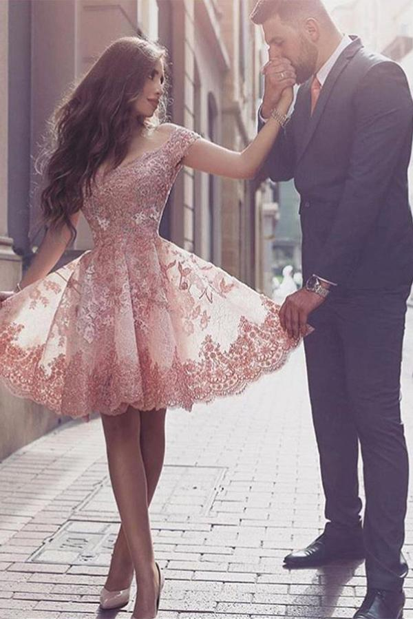 A-Line Off the Shoulder Short Sleeves Blush Sweetheart Homecoming Dresses with Appliques JS523