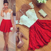 Cute Red Lace Short Sleeve Knee Length Homecoming Dress Cheap Cocktail Dresses JS470