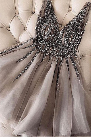 Luxurious Sequins Beaded V Neck Tulle Short V Back Gray Prom Dress Homecoming Dress JS762