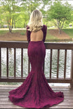 Charming High Neck Burgundy Long Sleeve Lace Mermaid Open Back Prom Dresses JS482