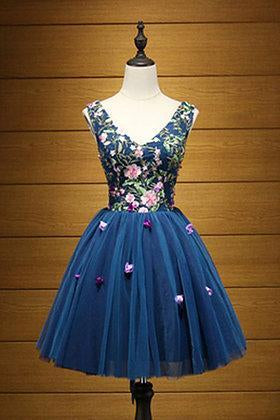 Cute A Line Navy Blue V Neck Short Prom Dresses Flower Lace up Homecoming Dresses JS957