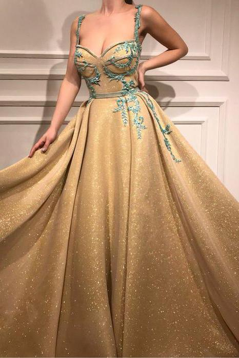 A Line Spaghetti Straps Sweetheart Gold Rhinestone Sparkly Appliques Prom Dresses JS890