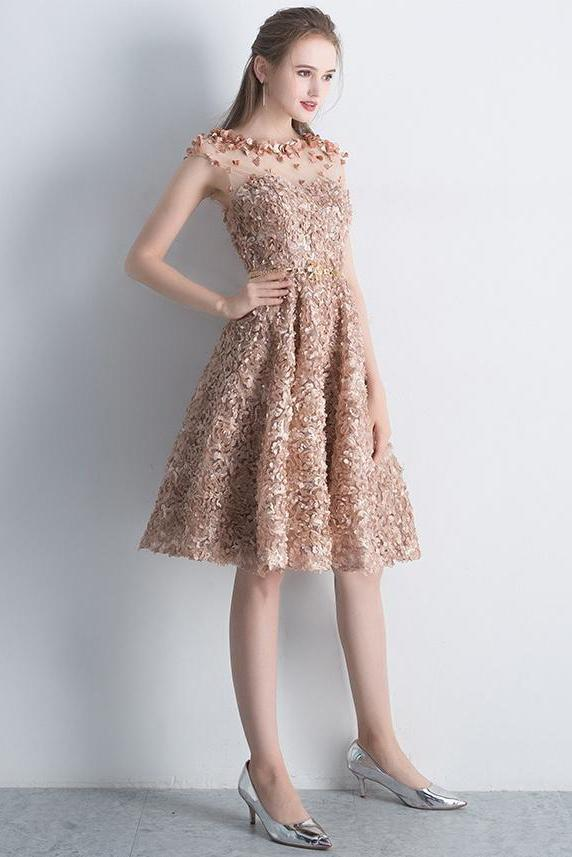 A Line Gold Cap Sleeves Scoop Lace Appliques Short Prom Dresses Homecoming Dresses JS907
