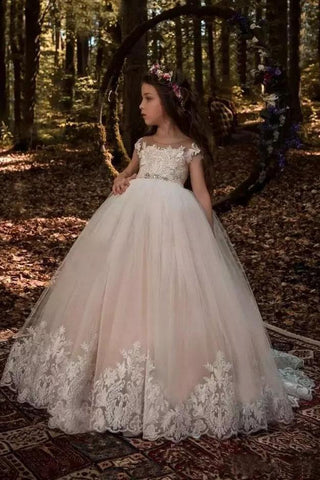 Cute Tulle Scoop Ball Gown Lace Appliques Beads Cap Sleeve Pink Flower Girl Dresses SSM298