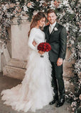 A-Line Round Neck Asymmetric Tulle Open Back Long Sleeves Wedding Dresses JS124